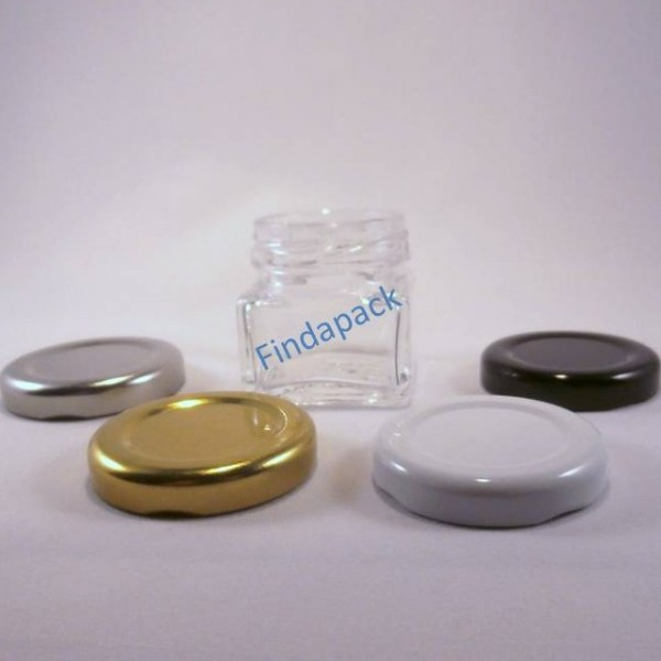 petit pot en verre carr 40 ml to 43 avec couvercle au choix. Black Bedroom Furniture Sets. Home Design Ideas